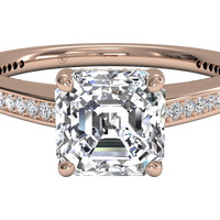 18kt Rose Gold/asscher/top