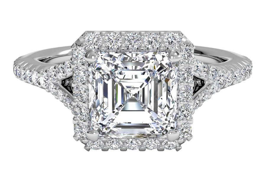 14kt White Gold/asscher/top