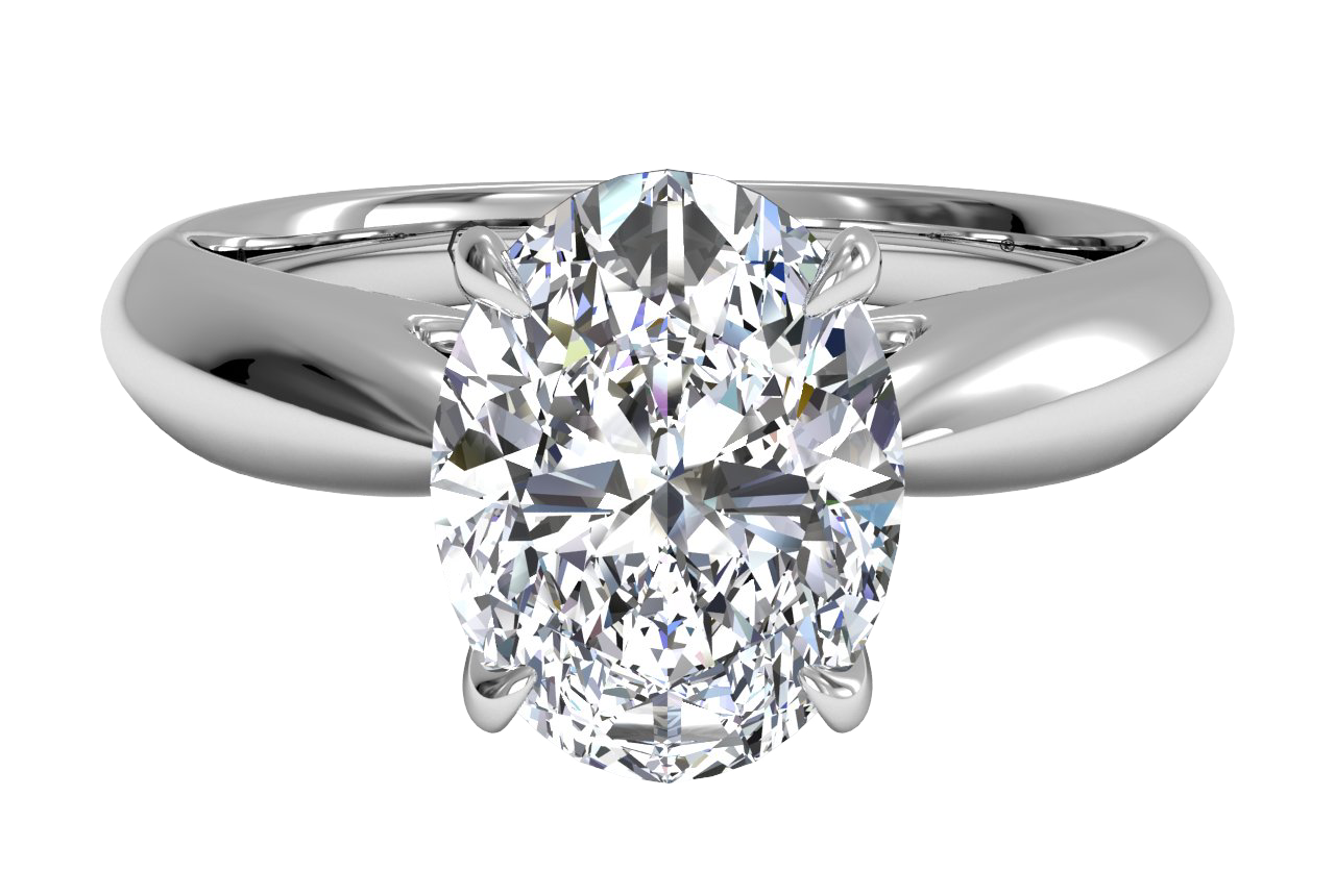 Solitaire Diamond Cathedral Tapered Engagement Ring