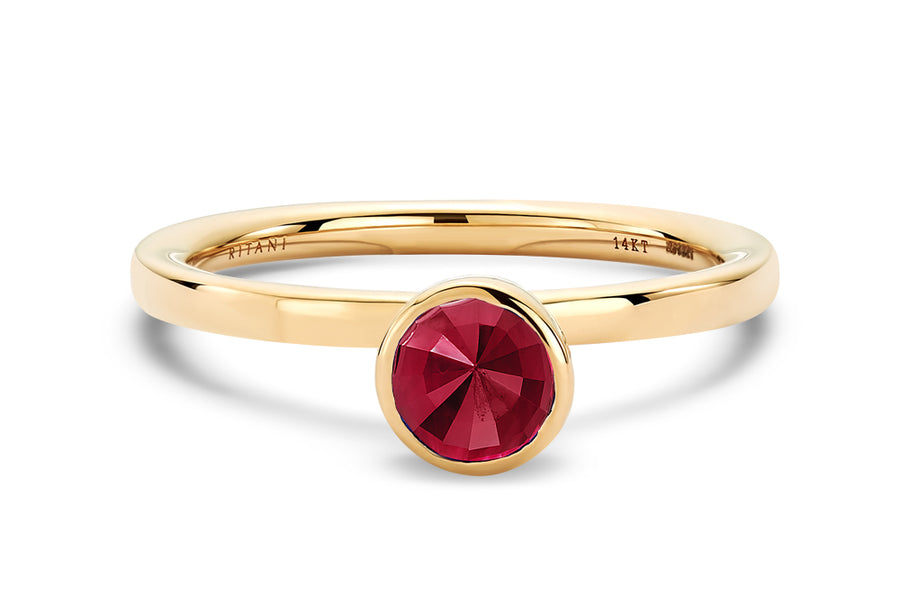 14kt Yellow Gold/Ruby/top