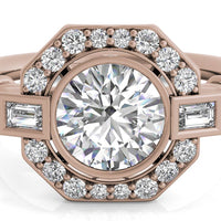 18kt Rose Gold/round/top