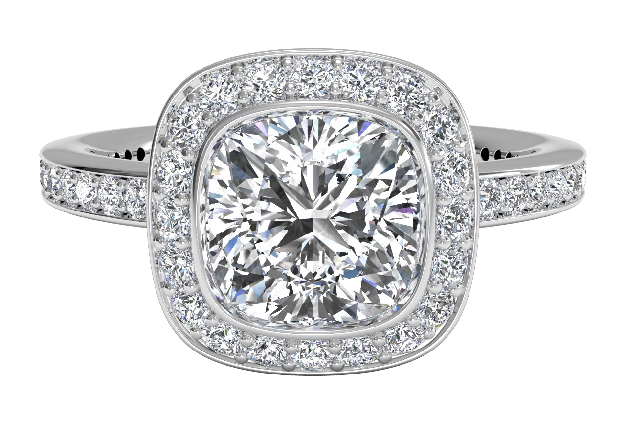 18kt White Gold/cushion/top