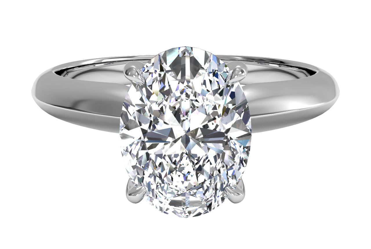 Solitaire Diamond Knife-edge Engagement Ring With Surprise Diamonds