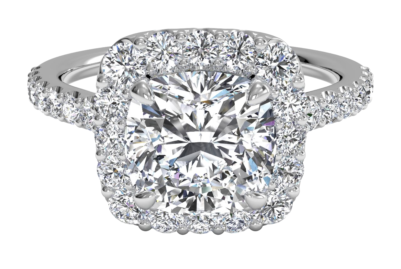 14kt White Gold/cushion/top