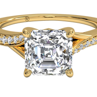 18kt Yellow Gold/asscher/top