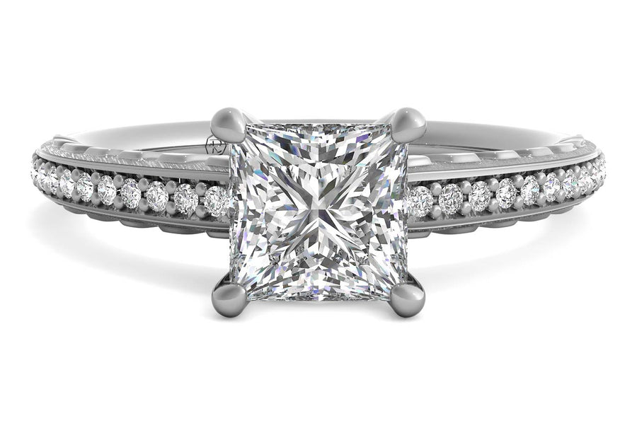 18kt White Gold/princess/top