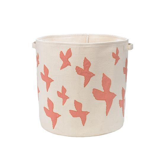 DwellStudio Cotton Storage Bin Small -  Birds - Simply Green Baby