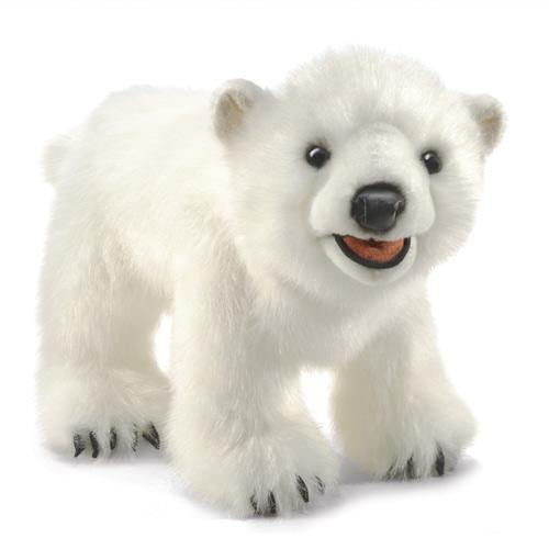 Folkmanis Puppet - Polar Bear Cub - Simply Green Baby