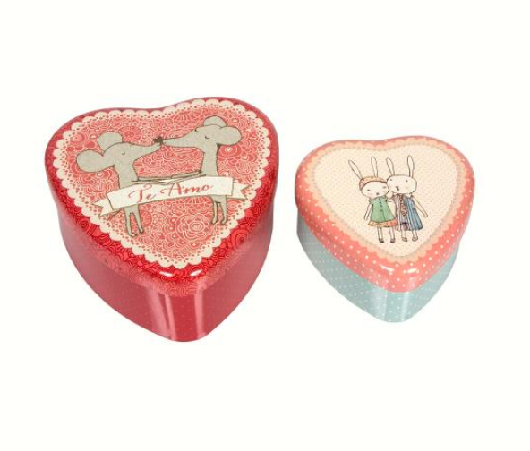 Maileg Metal Heart Shaped Tin Set - Loving Couple - Simply Green Baby