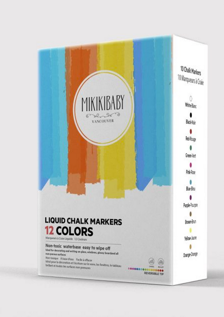 Mikikibaby Liquid Chalk Marker 12 Colours - Simply Green Baby