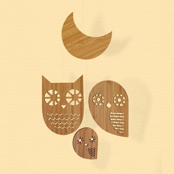 Petit Collage,Owl Family - Simply Green Baby