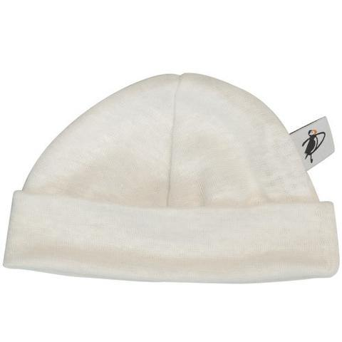 Puffin Gear Baby Linen Beanie - White - Simply Green Baby