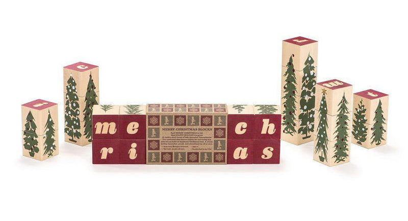 Uncle Goose Merry Christmas Blocks - Simply Green Baby