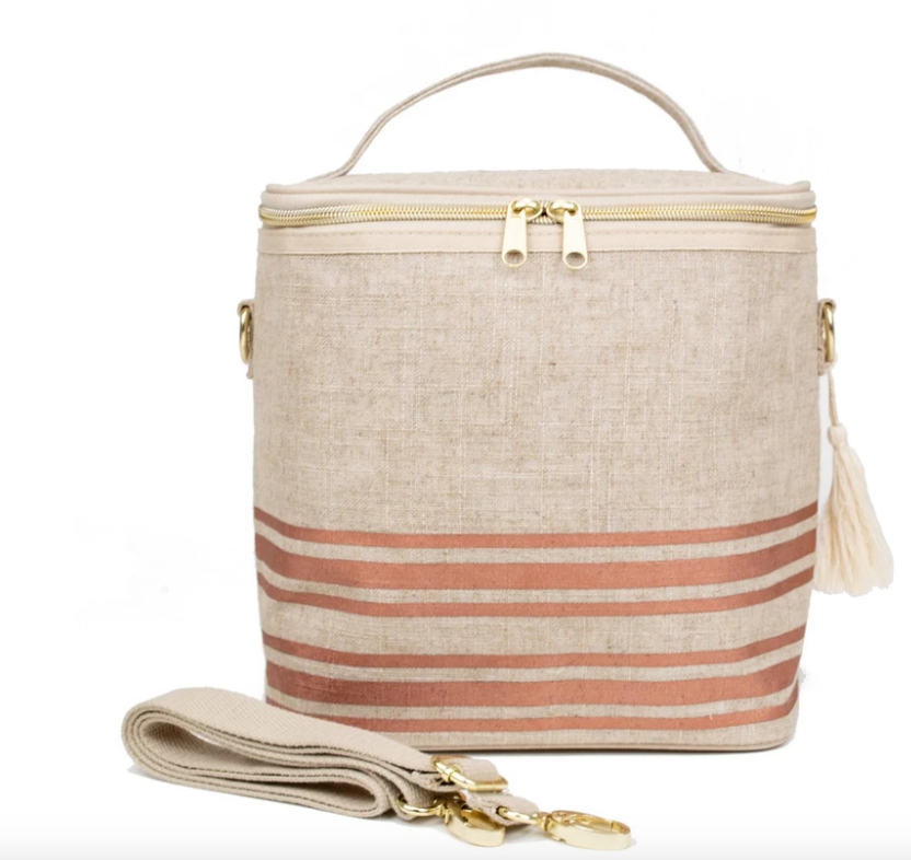 SoYoung Linen Lunch Poche - Rose Gold Horizontal Stripe