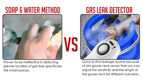 Soap and water method VS Gas leak detector