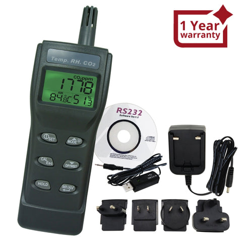77535_CD_ADAPTOR High Accuracy CO2, RH & Temp Real-Time Monitor Kit Set w/PC Software Recording Analyzer, Portable Indoor Air Quality Carbon Dioxide Meter Sensor, Temperature/Dew Point/Wet Bulb/Humidity - Gain Express