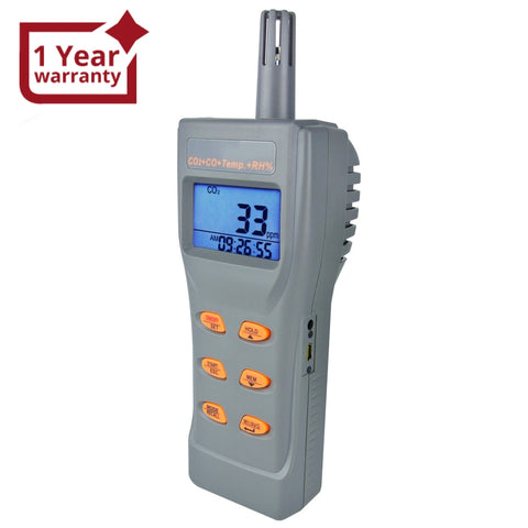 77597 6 in 1 Combo Multi-function CO2 & CO & Temperature, Humidity RH %, DP, WB, USB Data Logger with Software, Meter IAQ Tester - Gain Express
