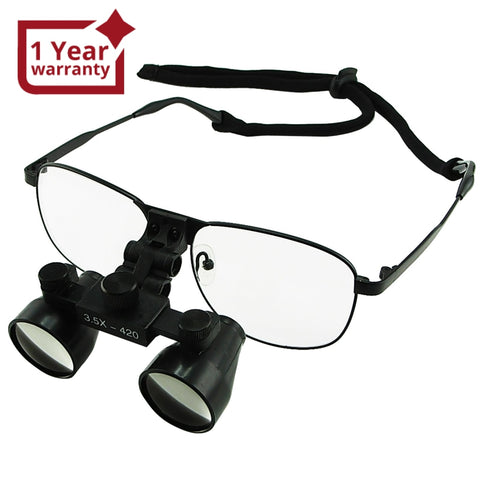 DL-035 3.5x Magnification Dental Loupes, Galilean Style Titanium Frame, Dental Surgical Medical Binocular, 60mm Field of View + 55mm Depth of Field +420mm Working Distance, Flip-Up Function Flexible Optical Glass Loupe Dentistry - Gain Express