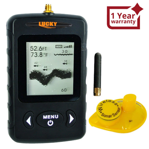 Ffw-718Blk Lucky Black Portable Wireless Fish Finder Locator With 45M (135Ft) Depth & 120M (400Ft)