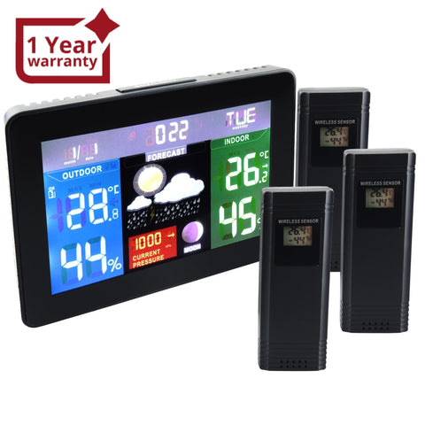 Ws-001_Eu_3S Dcf Rcc Digital Weather Forecast Station Barometer Temperature Monitor 3 Sensors 220V