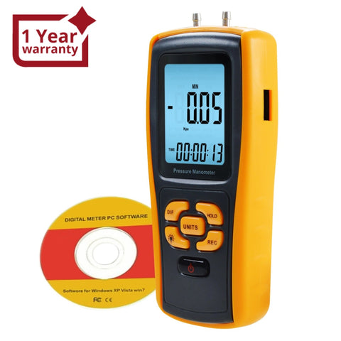 Man-37 Digital Manometer With Usb Interface Differential Pressure Gauge Air Testing Instrument