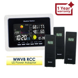 WS-104_US_3S Weather Station IN/OUT Temperature Humidity WWVB 3 Wireless Remote Sensors 110V Only
