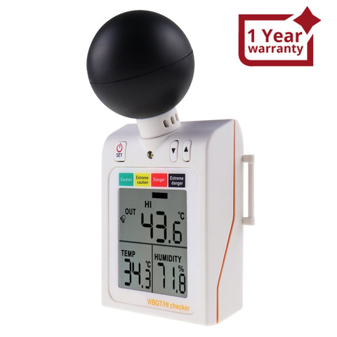 87784 Wearable 2-in-1 WBGT + HI Heat Index Checker Wet Bulb Globe Temperature Heat Stress Meter Air Globe Temperature Humidity Tester with Dangerous Level Indicator Audible Alarm
