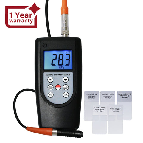 CM-1210A Coating Thickness Meter Gauge F & NF, Magnetic Induction Eddy Current 0~2000μm 0~80mil Non-Magnetic Non-conductive Material Thick Measure Tester, Substrate Auto Detection - Gain Express