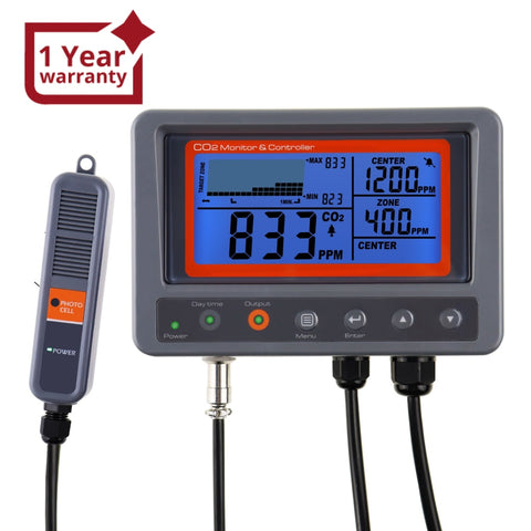 7530 Digital CO2 Carbon Dioxide IAQ Monitor Controller with Relay Function 45m Cable NDIR Sensing Probe for Green House Home, Office, Factory