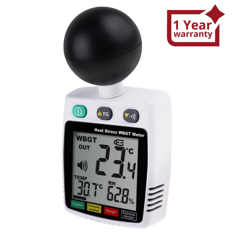 TM-288 Heat Stroke Index Meter Indoor / Outdoor Temperature Measurement WBGT Black-Globe Temp Humidity with Real-time Alarm, Heat Hazard Indicator