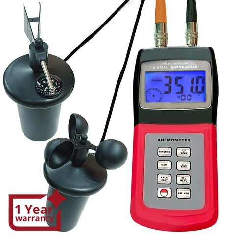 AM-4836C Digital Multi-function Thermo Anemometer with 3-Cup Type Sensor, Portable Wind Speed Air Flow Gauge, Weather Wind Velocity Direction Tester Meter - Gain Express