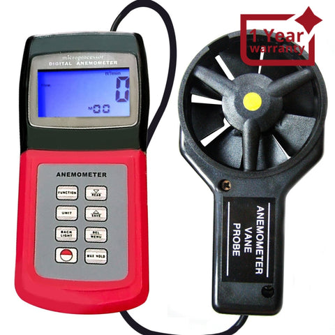 AM-4836V Digital 3-range Multi-function Thermo Anemometer, Air Speed Wind Flow Temperature Velocity Beaufort Scale, Backlight, Weather Analysis, Navigation, Marine Applications, HVAC, Data Collection - Gain Express
