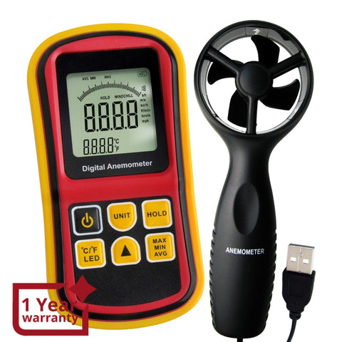 AM-8901  2-in-1 Digital Thermo-Anemometer, Air Flow Wind Speed Meter, 5 parameters (m/s, km/h, ft/min, knots & mph) with Thermometer Temperature, 0~45m/s Velocity Bar Graph Surf & Backlight - Gain Express