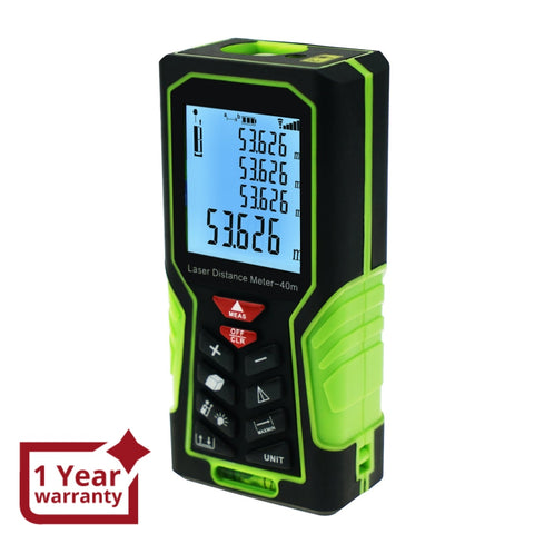 DIS-60 Digital Laser Distance Meter 40m (131ft) Handheld Range Finder Area & Volume Measuring Tools Meter Tester with Backlight and Spirit Bubble Level, ±1mm accuracy - Gain Express