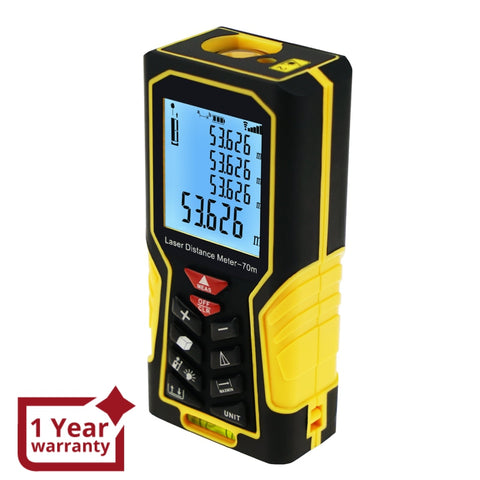 DIS-61 Digital Laser Distance Meter 70m (229ft) Handheld Range Finder Area & Volume Measuring Tools Meter Tester with Backlight and Spirit Bubble Level, ±1mm accuracy - Gain Express