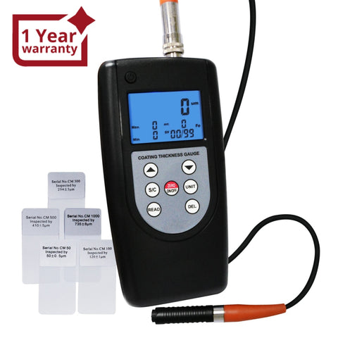 CM-1210B Coating Thickness Meter Gauge F & NF 99 Memories Max Min Avg, Magnetic Induction Eddy Current 0~2000μm 0~80mil Non-Magnetic Non-conductive Material Thick Measure Tester, Substrate Auto Detection - Gain Express