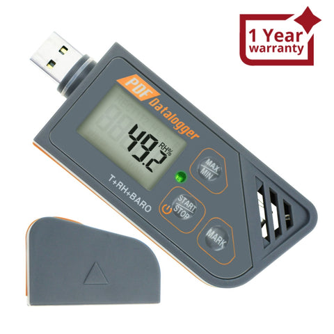 88163 Digital Waterproof USB Datalogger Humidity Temperature and Pressure Barometric Data Logger gauge, generate PDF/Excel report LED indicator  - Gain Express