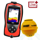 FF-1108-1CWLA Lucky Wireless Fish Finder with Fish Attractive Light Lamp & Color LCD, Portable Rechargeable Fishfinder Locator, 45M Depth 100M Sonar Sensor Transducer Range for Boats Kayak Ice Night Fishing