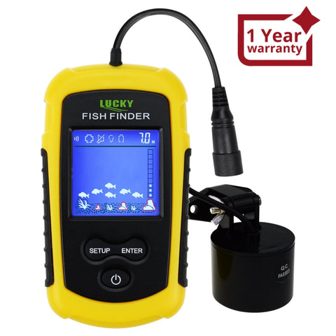 FFC-1108-1 Lucky Portable Fish Finder Sonar, TN/ Anti-UV LCD Display with Clear LED Backlight for Night Fishing, Wired Fishfinder with Alarm, 100M (328ft) Depth Detection, Turbid Water, Reservoir, Sea, River, lake, Boat Kayak Ice Fishing