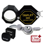 Gem-253 30X Jeweler 20.5Mm Gem Loupe Magnifiers Jewelry Triplet Lens Optical Glass Magnification For