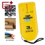 E04-022 3 In 1 Stud / Metal Ac Wire Detector Handheld Wall Wood Metallic Pipe Voltage Live Scanner