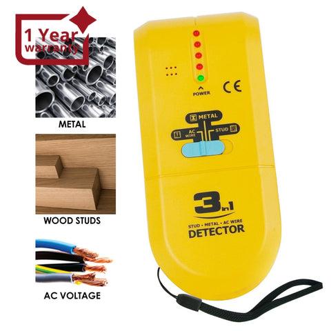 E04-022 3 in 1 Stud / Metal / AC Wire Detector, Handheld Wall Wood Metallic Pipe Voltage Live Scanner Finder Tracker w/ Spotlight & Groove Buzzer, for Hole Drilling Nailing Nail Construction Installation