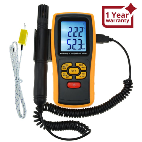 The-39 Lcd Digital Humidity And Temperature Meter Gauge 2 In 1 Measure Thermometer With Type K