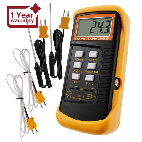 68022_2P Digital 2 Channels K-Type Thermometer w/ 4 Thermocouples (Wired & Stainless Steel), -50~1300°C (-58~2372°F) Handheld Desktop High Temperature Kelvin Scale Dual Measurement Meter Sensor