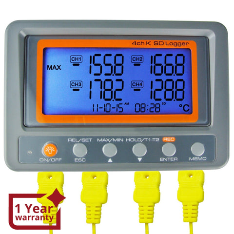 88598 Digital 4 Channels K-type Thermocouple Thermometer SD Card Logger High / Low Alarm Big LCD Display - Gain Express
