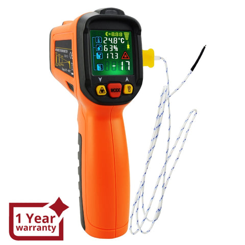 The-223 Non-Contact Infrared Ir Laser Thermometer Temperature Gun W/ K-Type Thermocouple & Humidity