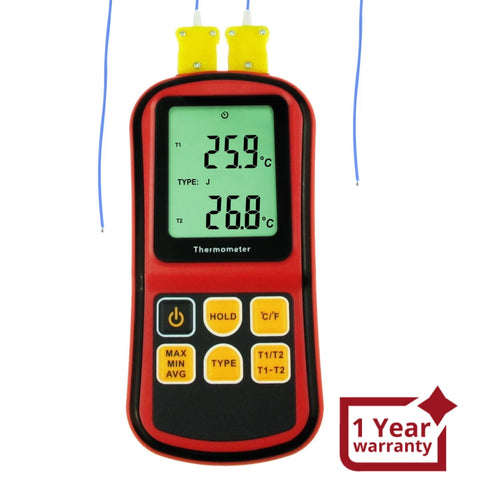 THE-32 Digital K / J / T / E / R / S / N Type Thermocouple Thermometer Dual-channel LCD Display -150~1767°C (-238~3212.6°F) ATC Temperature Meter