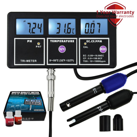 Wqm-242 5-In-1 Water Quality Multi-Parameter Ph Ec Cf Tds (Ppm) Temperature Test Meter Backlight