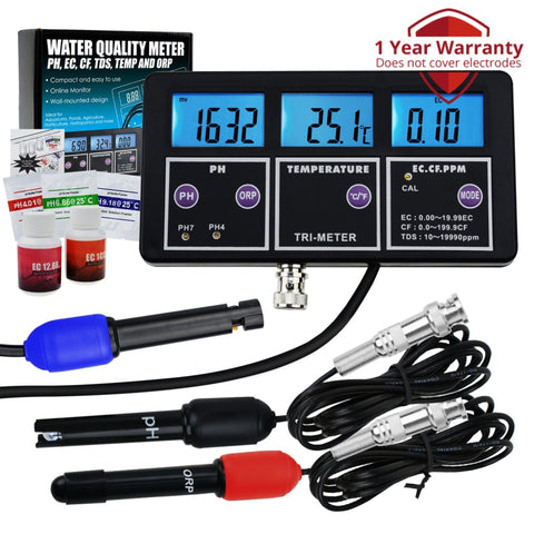 Wqm-243 6 In 1 Professional Multi-Parameter Ph/ Orp Redox/ Ec/ Cf/ Tds Ppm/ Temperature Combo