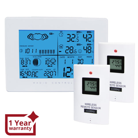 AOK-5019_2S Weather Station with 2 Wireless Sensors, with Time, Barometer Weather Forecast, Temperature, Humidity, Sunrise/ Sunset/ Moonrise/ Moonset, Date, Alarm & Snooze, Radio Controlled Clock RCC DST, 12/ 24-hour format, Indoor & Outdoor - Gain Express